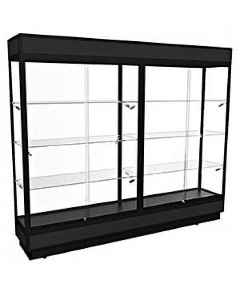 TPFL 2400 – Upright Glass Display Cabinet with LED Downlights – Fully assembled - Black