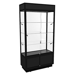 TSF 1000 Upright Glass Display Cabinet With LED Lights & Storage - Fully Assembled