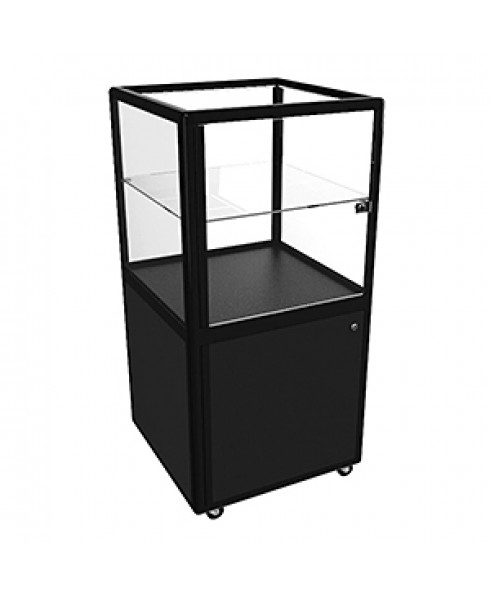 Hire CBDL Black Pedestal Cube Display Cabinet With Storage by Showfront