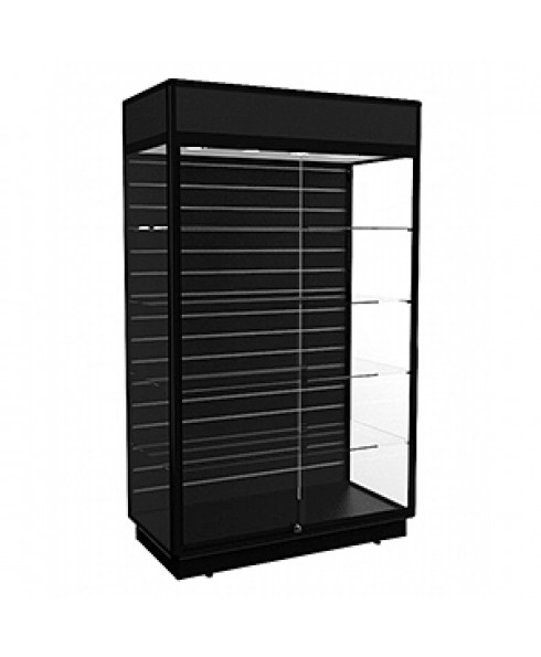 TGF 1200 Black Display Cabinet with Slatwall Panel by Showfront
