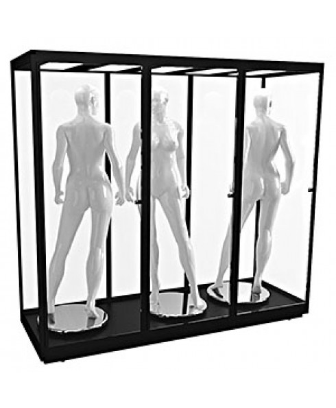 TMANQ 2400S - Triple Mannequin Display Cabinet with LED Panels - Black