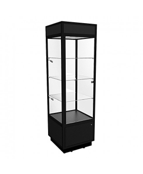 TSF 600 Black Tower Display Cabinet with LED Downlights and Storage by Showfront