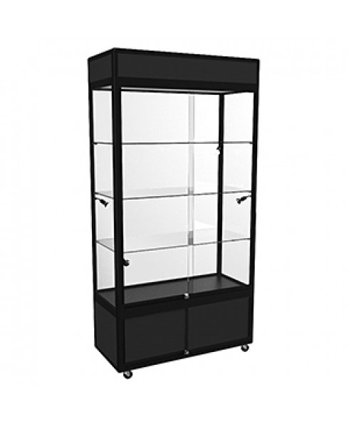 Black WUL Hire Large Upright Display Cabinet with LED Lighting & Storage
