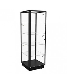 TGL 600 – Tower Display Cabinet with LED Spotlights – Fully assembled - Black