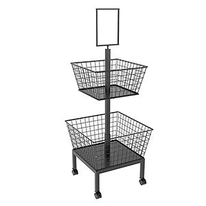 TTDB01 Twin Tier Retail Dump Bin With Wire Baskets