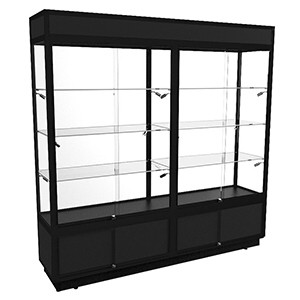 TSF 2000 Tower Display Cabinet with LED Lights and Storage – Fully Assembled