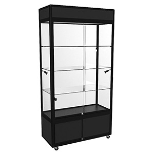 WUL Hire Large Upright Display Cabinet with LED Lighting & Storage - Black, White or Silver