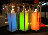 Exhibition Hire Display Cabinets by Showfront - Backlit Tower Showcases