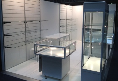 White Hire Display Cabinets on the display stand by Showfront