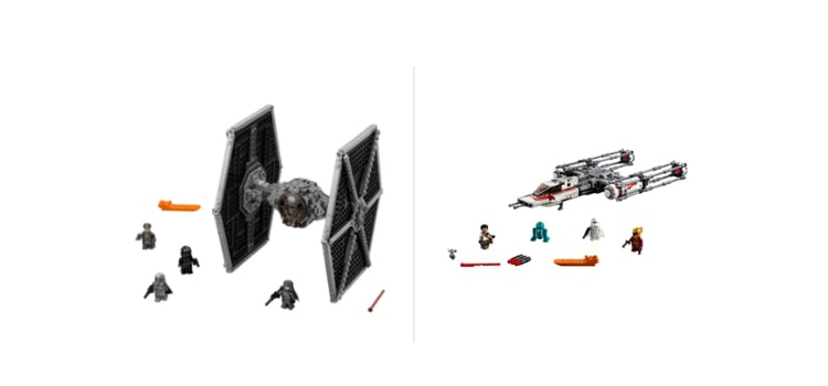Lego TIE Fighter and Y-Wing Fighter
