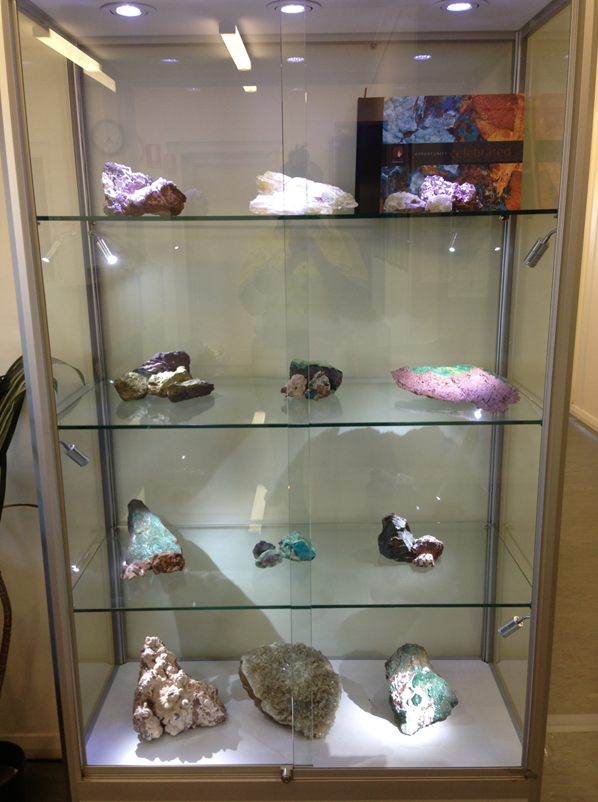 Upright rock & mineral display case by Showfront