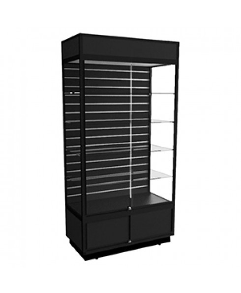 AU 1200 Black Display Cabinet with Storage & Slatwall Panel by Showfront
