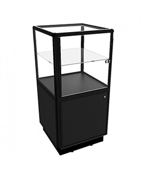 CBDL Black Pedestal Display Case With Storage by Showfront