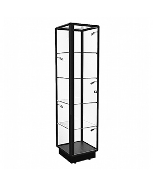 TGL 450 Black Tower Display Cabinet with LED Spotlights by Showfront