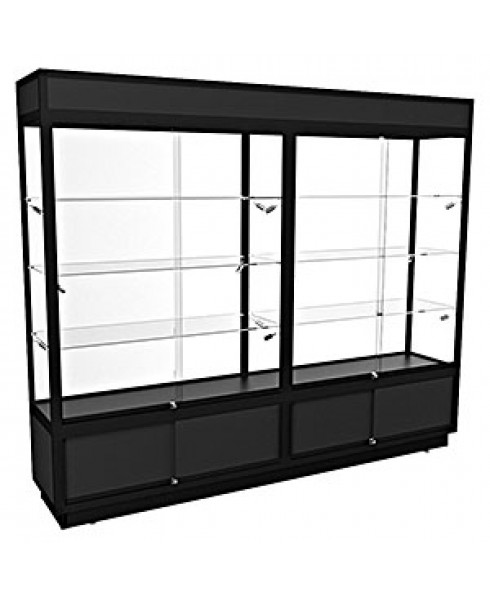 TSF 2400 – Upright Display Cabinet with LED Downlights and Storage – Fully assembled - Black