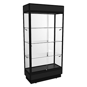 TPFL 1000 Upright Glass Display Cabinet with LED Downlights - Fully Assembled